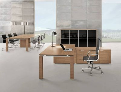 Oak Executive Desk And Cupboard