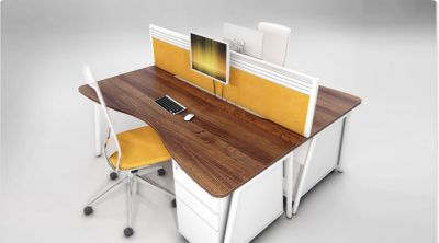 Modern Two Person Bench System In A Walnut Finish With Yellow Desk Screens