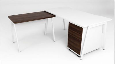 Modern Office Corner Desk With A Mobile Pedestal And Return In A White Finish