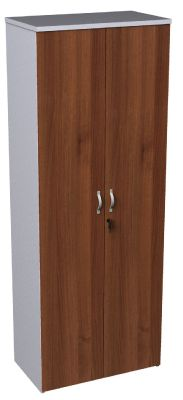 Walnut And White Tall Cupboard