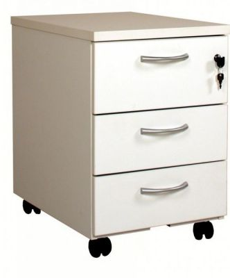 C01 White Mobile 3 Drawer Pedestal