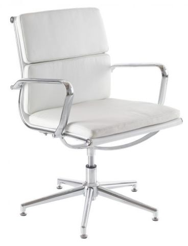 Eames Soft Pad Conference Chair In White Leather