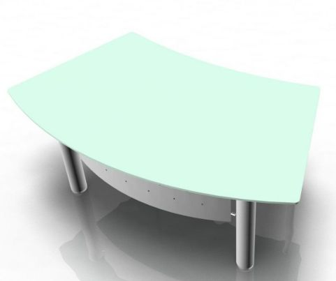 XT Next Bow Fronted Glass Executive Desk With An Integral Metal Modesty Panel