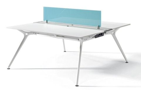 Modern Arkitek Twin Office Desk In A White Polished Finish With A Designer A Frame And Glass Desk Screen