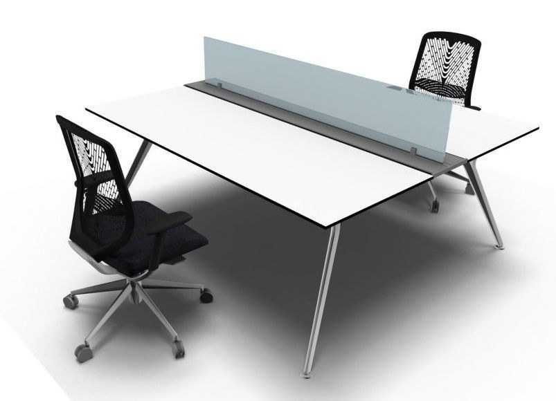 Stylish Arkitek Twin Office Desk In A White Finish With Frosted Gl Screens