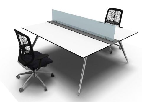 Stylish Arkitek Twin Office Desk In A White Finish With Frosted Glass Desk Screens