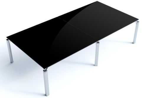 Must Rectangular Black Two Piece Glass Office Table With Sleek Chrome Triangular Legs