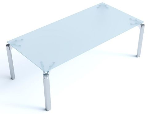 Stunning Must Satin Glass Rectangular Office Desk With Modern Silver Triangular Legs