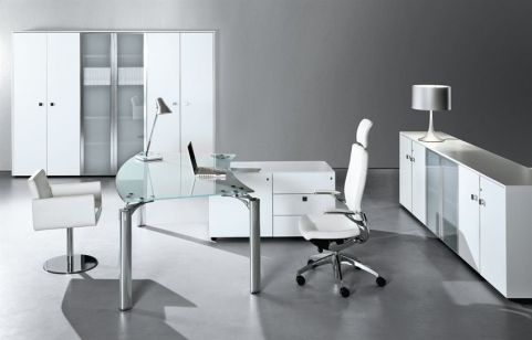 Contemporary Office Space Using The Must Executive Range Satin Glass Desk Tops With Modern White Storage