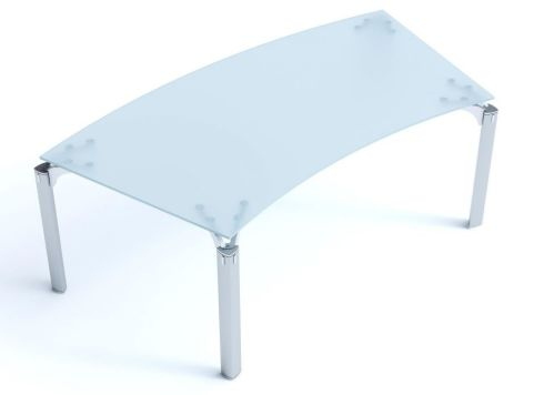 Executive Must Bow Front Satin Glass Office Desk With Signature Triangulated Leg Design In Chrome Finish