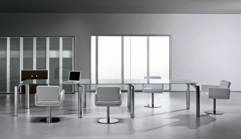 Executive Style Meeting Room With Striking Satin Glass Top And Stylish Triangular Legs