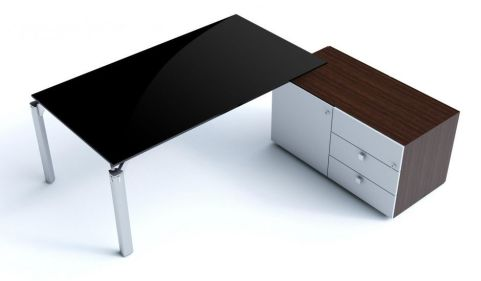 Must Executive Black Polished Glass Office Desk And Contrasting Side Storage Credenza