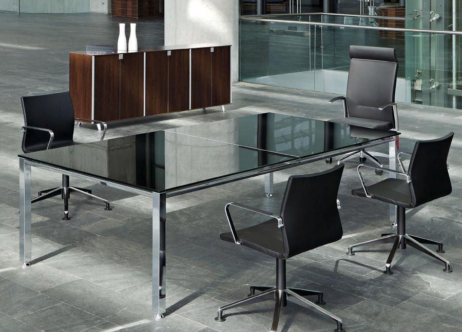 Glass Office Furniture Vital Plus Office Reality - Black glass conference table