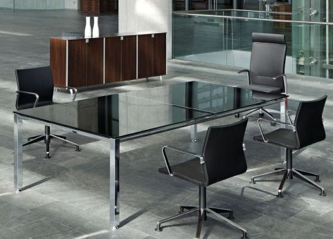 Aesthetic Vital Meeting Room Table With Black Glass Top With Modern Black Leather Conference Chairs