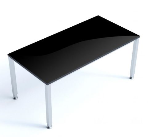 Vital Executive Black Glass RecyangularOffice Desk With A Thick Silver Steel Frame