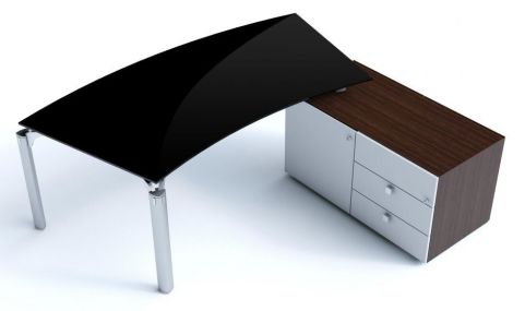 Stunning Must Executive Bow Shaped Black Glass Office Desk With Contrasting Side Cupboard