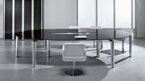 Aesthetic Must Oval Boardroom Table With A Black Glass Top With Sleek Traingular Legs