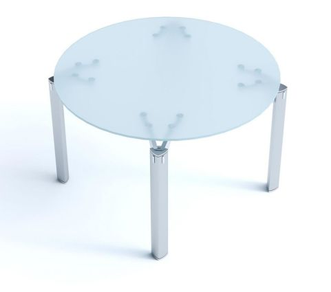 Modern Must Circular Satin Glass Coffee Table With Chrome Triangulated Legs