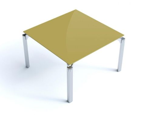 Aesthetic Must Square Curry Glass Meeting Room Table With Chrome Triangulated Shaped Legs