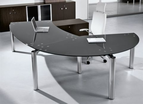 Executive Managers Office Desk With Stunning Black Glass Tops And Chrome Triangulated Legs