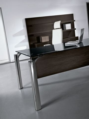 Modern Must Black Glass Rectangular Office Desk With Modesty Panel And White Leather Executive Task Chair