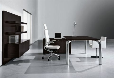 Executive Must Rectangular Black Glass Office Desk With Supporting Storage Cupboard And Executive White Leather Task Chair