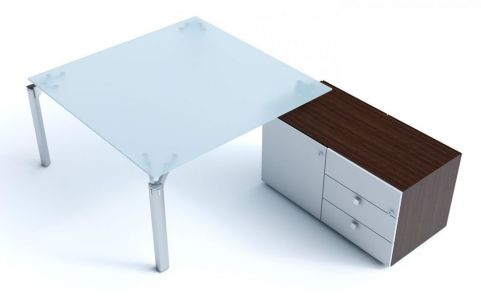 Executive Must Square Glass Office Desk With Supporting Storage Cupboard