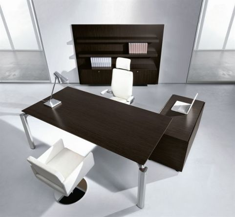 Modern Executive Must Rectangular Wooden Office Desk With Supporting Storage Cupboard And Executive White Leather Task Chair
