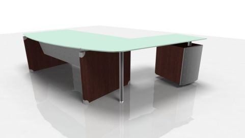 Contemporary XT Glass Office Workstation With Return And Supporting Desk Pedestal In A Modern Wenge Finish