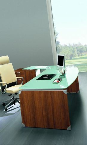 Executive XT Glass Office Workstation With Return And Supporting Desk Pedestal