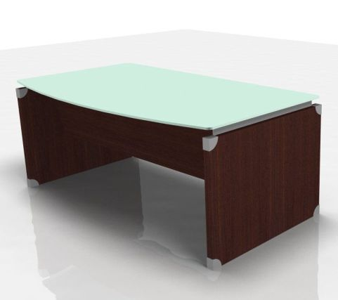 XT Panel Executive Rectangular Glass Office Desk In A Modern Wenge Finish