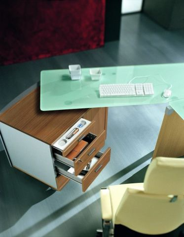 Modern Executive Glass Office Workstation With Cupboard In A Striking Canaletto Walnut