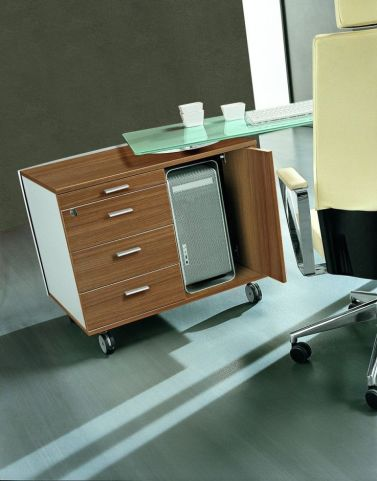 XT Supporting Cupboard, Containing Box Drawer, Pen Tray, Filing Drawer And Storage Cupboard In A Canaletto Finish