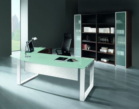 Aesthetic XT Glass Bow Front Office Desk With Matching Glass Return And Integrated Modesty Panel