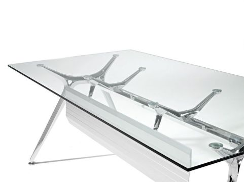 Contemporary Arkitek Glass Office Desk With Chrome A Frame