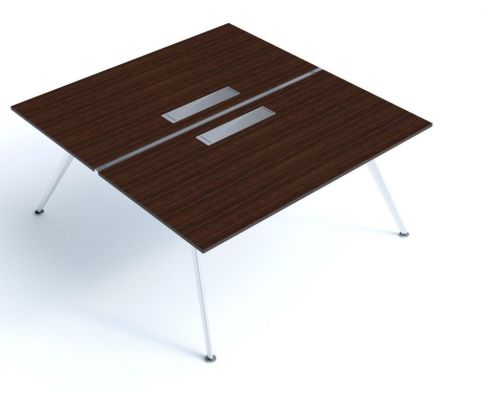 Designer Arkitek Two Person Office Bench System With Sleek A Frame Design In A Modern Wenge Finish