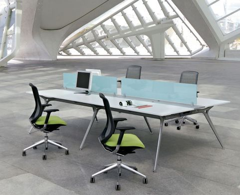 Modern Arkitek Four Person Office Bench System With Sleek Chrome A Frame In A Contemporary White Finish