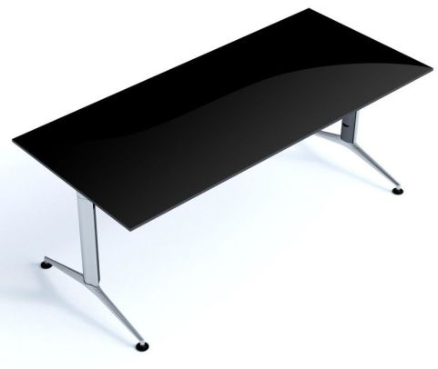 Travido Black Glass Office Desk And Tables With Stylish Silver Frame