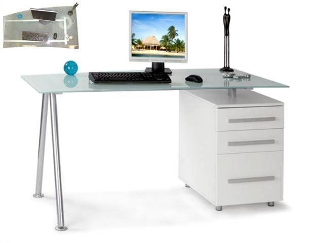 glass office furniture. Modern Glass Office Desk With Integral White Three Drawer Pedestal And Stylish Silver Frame Furniture A