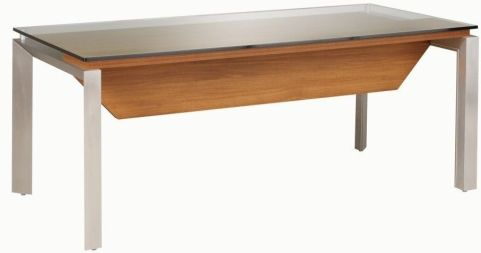 Silver Executive Rectangular Office Desk With A Raised Glass Top In A Walnut Finish