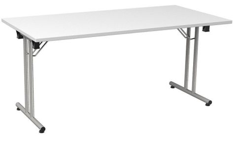 Versatile Foldaway Rectangular Meeting Table In A White Finish With A Silver Frame