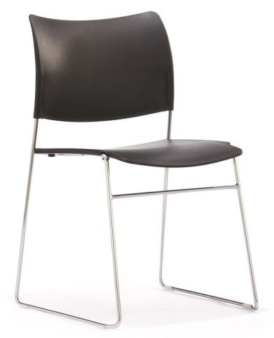 Stylish Elios Conference Chair In Black Plastic With Simplistic Silver Frame