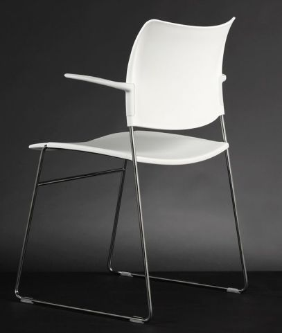 Stylish Elios Conference Chair In White Plastic With Simplistic Silver Frame