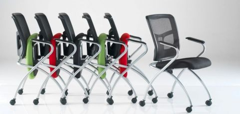 Convoy Mesh Back Conference Chair With Mounted Castors In Various Colours
