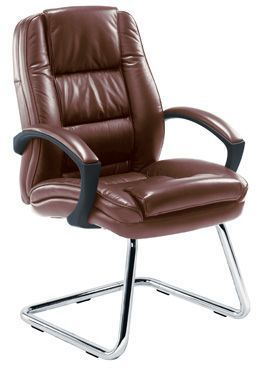 Nevada Brown Leather Visitors Chair