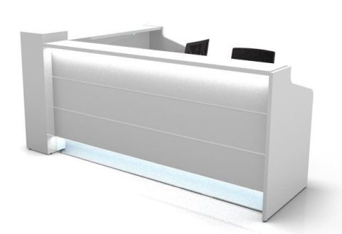 L Shaped Valde Reception Desk With Illumintaed High Gloss White Fronts