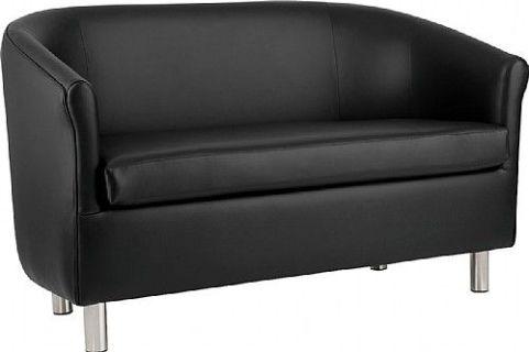 Zoron Black Faux Leather Sofa