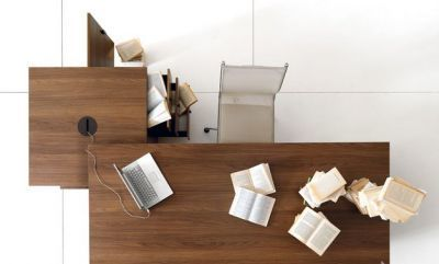 Lithos Executive Desk And Supporting Storage Unit Aerial View