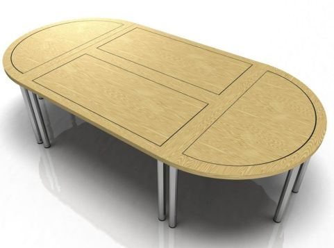 Harley Modular Veneer Table With Rectangular And Half Moon Tables