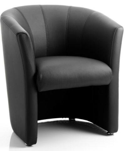 Trident Black Leather Tub Chair